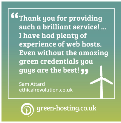 A client testimonial from Ethical Revolution. The text is included in the news story.