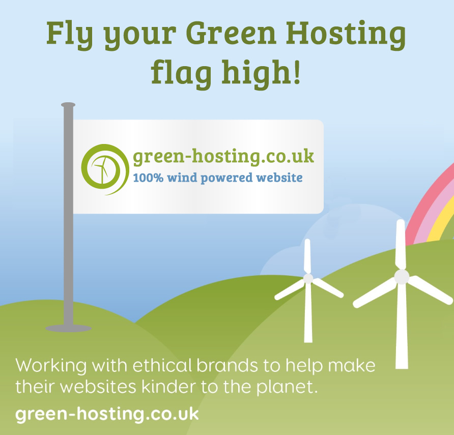Illustrated green hills and blue sky with wind turbines and a flag showing the text 'green-hosting.co.uk 100% wind powered website'
