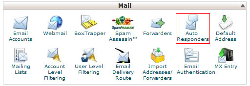 Screen shot of e-mail section in hosting cpanel