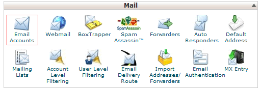 E-mail accounts in the control panel