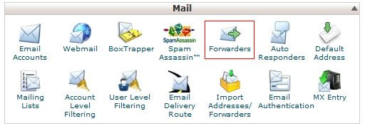 E-mail forwarders in the hosting control panel