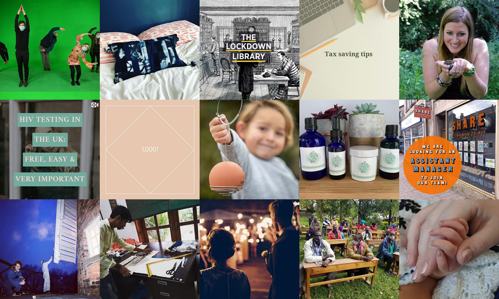 A collage made up of 15 images of our customers and their products corresponding to the news article